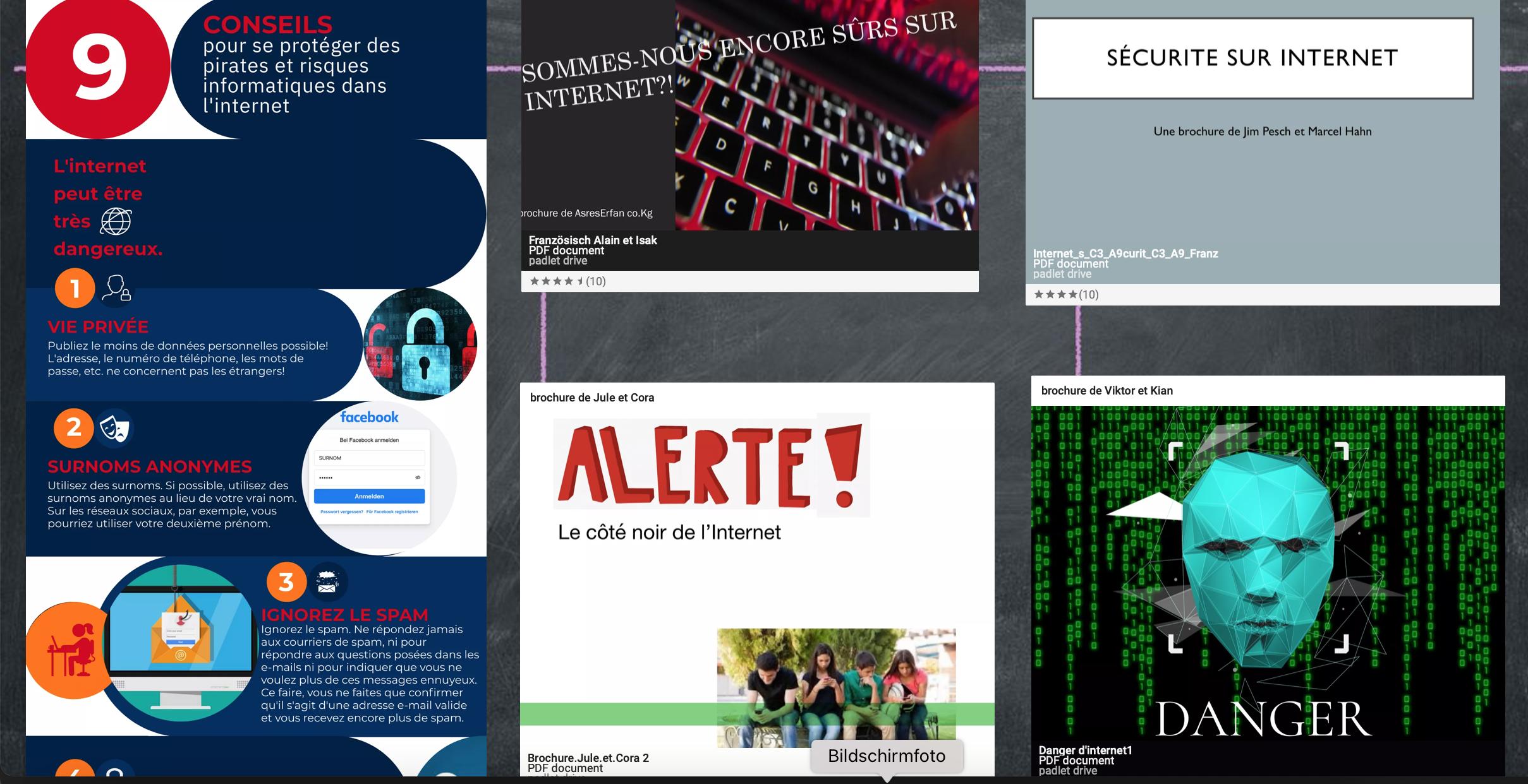 Padlet zum Thema Internetsicherheit und Mediennutzung der E2